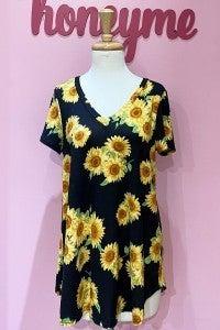 SMALL ONLY HoneyMe Sunflower V-Neck Top in Black