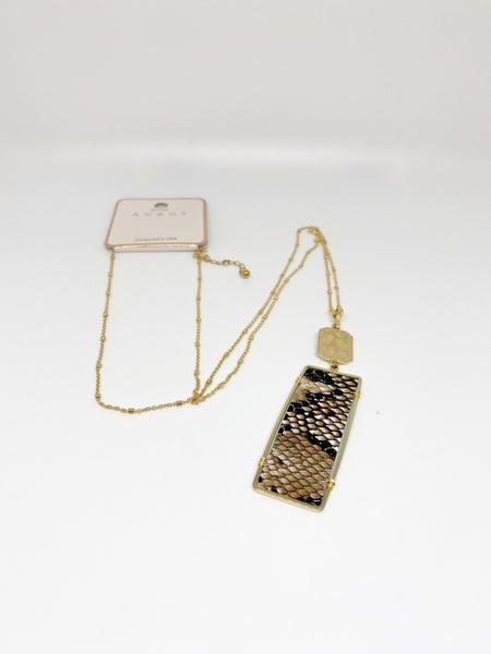 Avant Rectangular Snakeskin Necklace