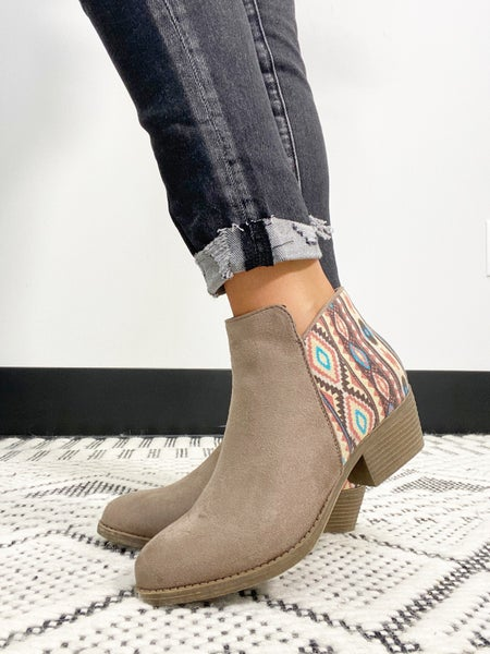 """Corky's """"Prevail"""" Pink Aztec Booties in Tan"""