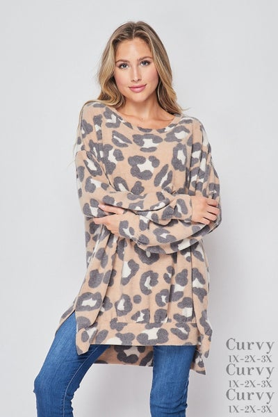 HoneyMe Camel Leopard Tunic