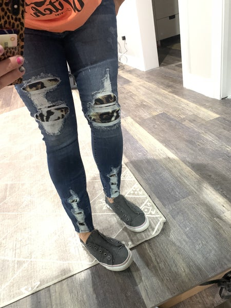 SIZE 3 ONLY-Judy Blue High Waist Leopard Patch Skinny Jeans