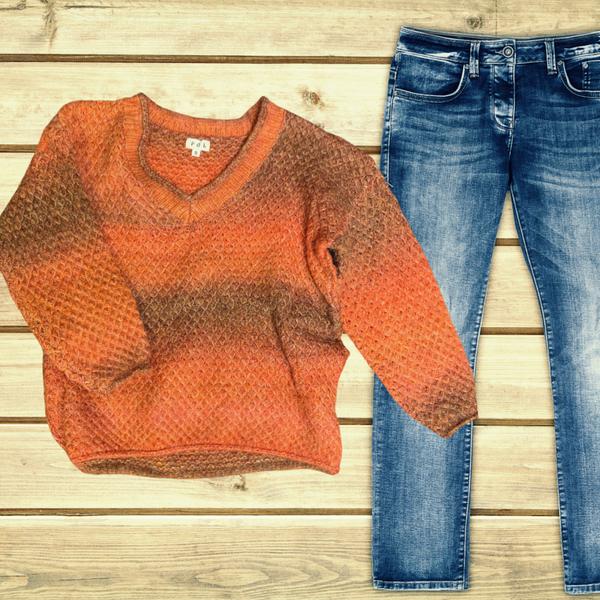 LARGE ONLY - Pumpkin Spice V-Neck Sweater