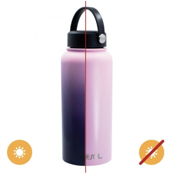 Del Sol Color Changing Water Bottle - Pink to Purple