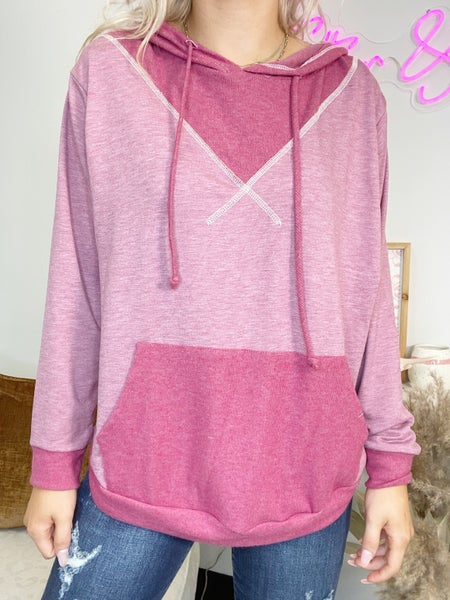 Burgundy Hoodie with Reverse Stitching Detail