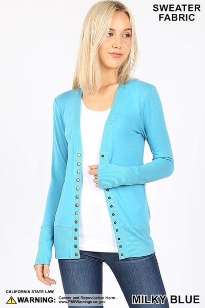 Snap Button Sweater Cardigan with Ribbed Detail in Milky Blue