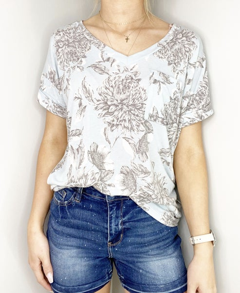 Solid Blue/Gray V-Neck Top with Pocket