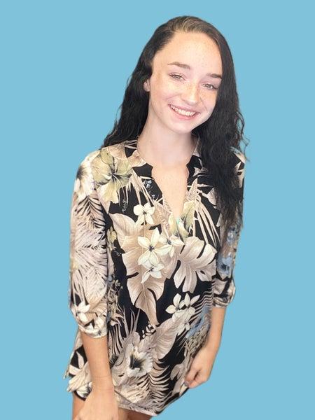 Honeyme Gabby Black Floral Print