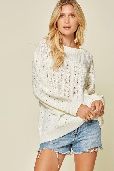 Textured Ivory Light Weight Sweater