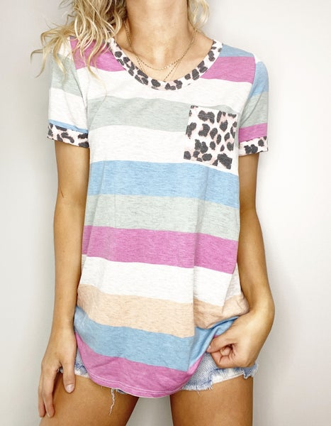 HoneyMe Wide V-Neck Striped Top with Leopard Contrast