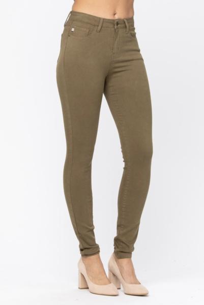 Judy Blue High Waist Olive Skinny Jeans