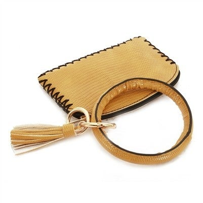 Vegan Leather Mustard Key Ring with Wallet Attachment