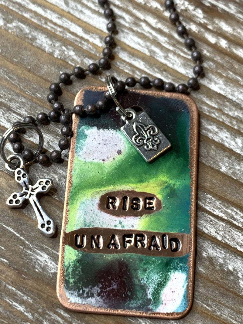 Kate Mesta Rise Unafraid Hand Painted Dog Tags
