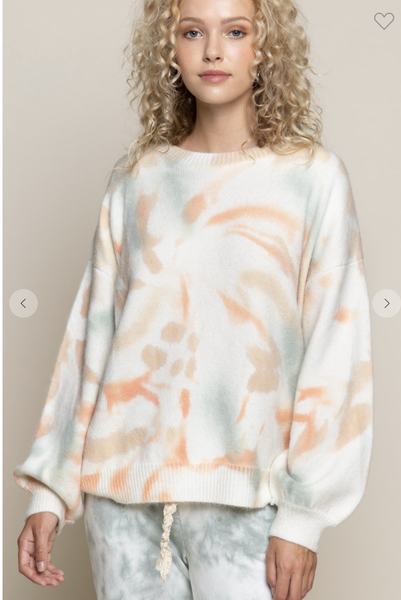 Ivory Sweater with Multi Color Swirl