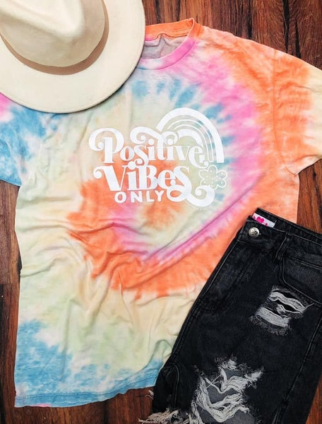 Southern Bliss Positive Vibes Rainbow Burnout Tee