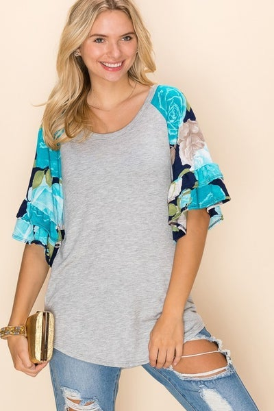 Casual Solid Color With Flower Print Contrast Top