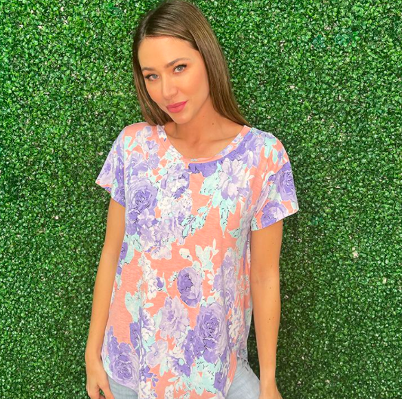 Short Sleeve Peach & Lavender Floral Top