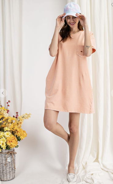 DREAMER'S DISTRESSED DRESS IN CORAL