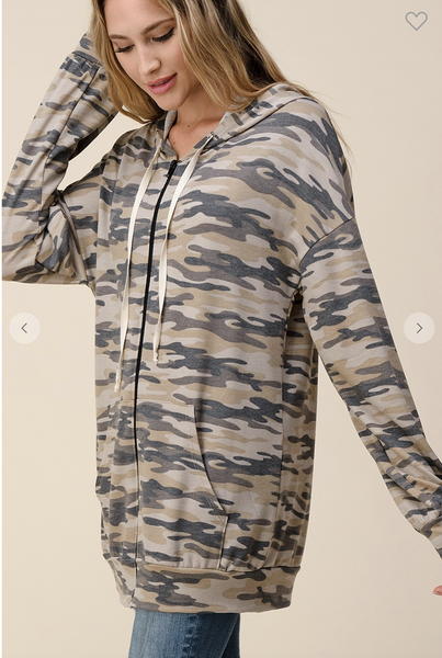 !French Terry Camo Printed Zip Up Hoodie