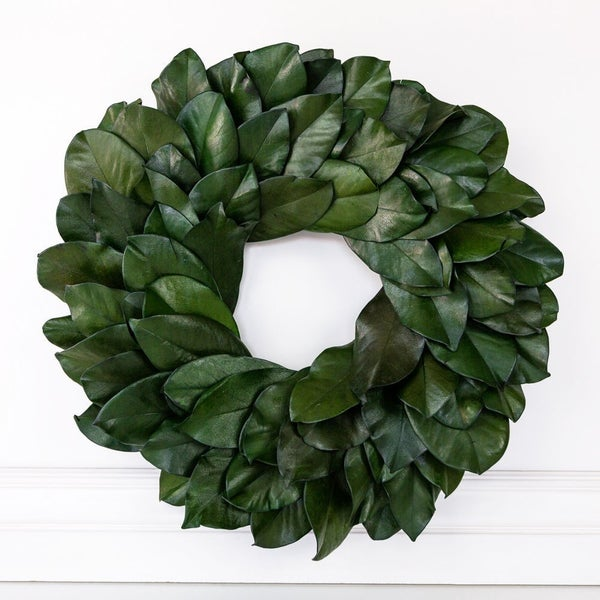 """$40 OFF - 20.5"""" REAL Preserved Magnolia Wreath"""