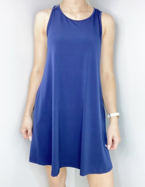 SMALL ONLY-Navy Sleeveless ITY Swing Dress