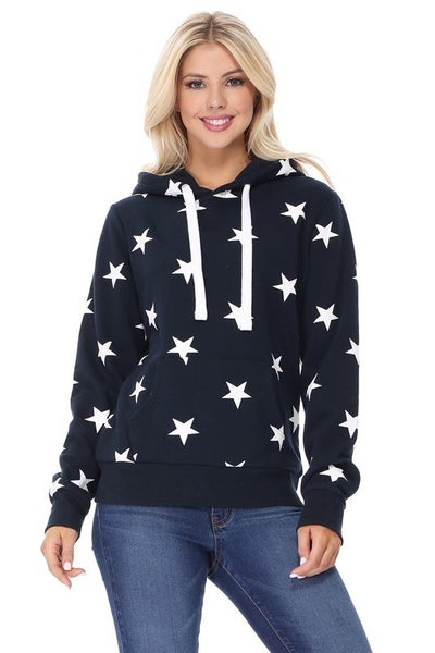 All Over Star Print Hoodie in Navy