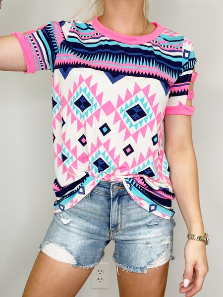 White and Neon Pink Scoop Neck Top in ITY