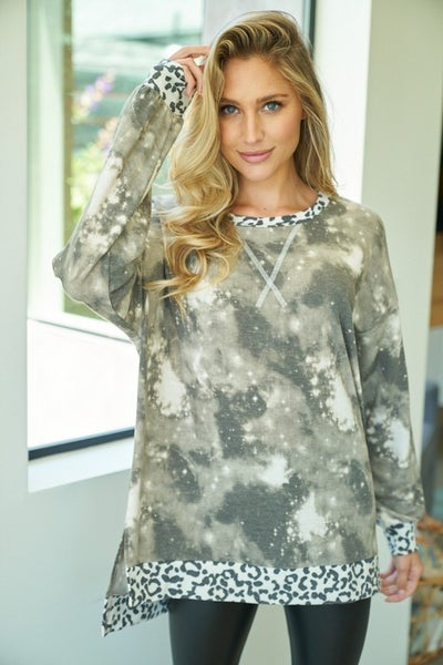 Long Sleeve Tie Dye Knit Top with Reverse Stitching
