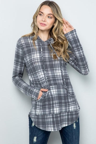 SMALL ONLY - Plaid Brushed Hoodie with Kangaroo Pocket