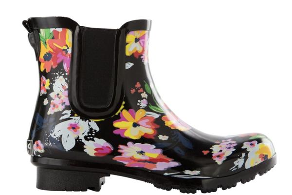 Chelsea Black Floral Rain Boots