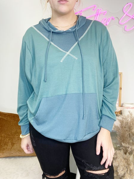 Teal Hoodie with Reverse Stitching Detail