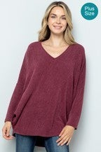 Ribbed Long Sleeve Dolman Top in Wine
