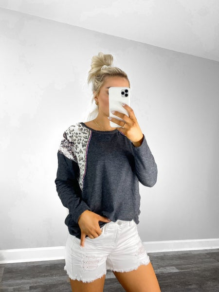 Small, Large & XL ONLY - Two Toned Knit Top with Print Block Shoulder in Black