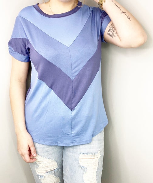 Blue Top With V Detail
