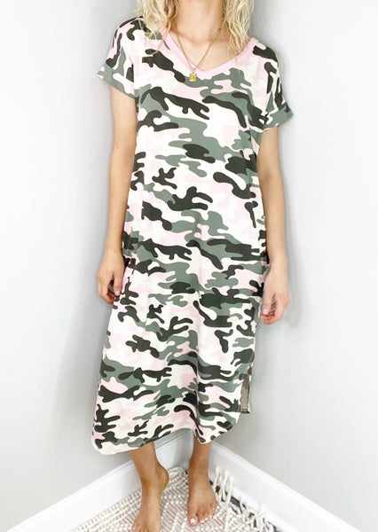 Taupe and Pink Camo  V-Neck Maxi Dress
