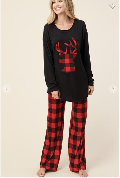 Puffy Plaid Pajama Top OR Pajama Bottoms-Red