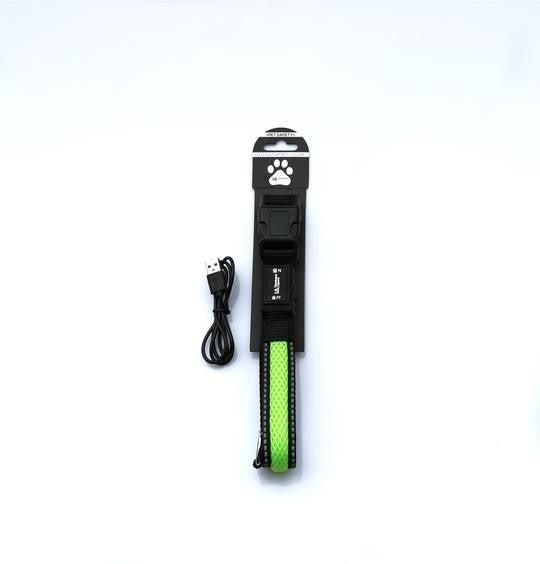 Green LED Light Up Pet Collar | SAFE & VISIBLE