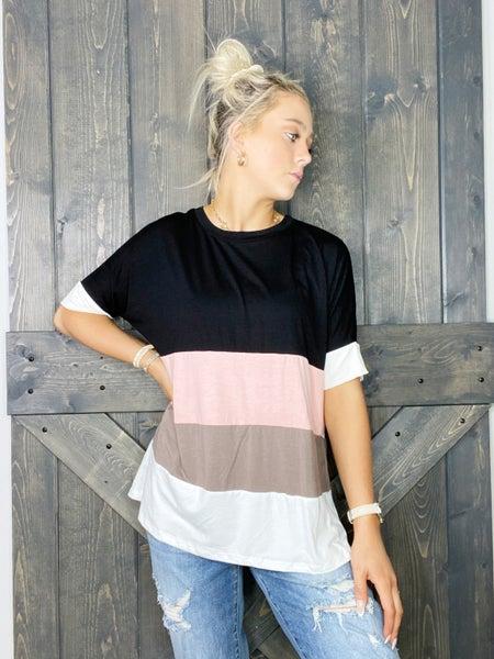 Black, Pink, Mocha & Ivory Wide Stripe Top