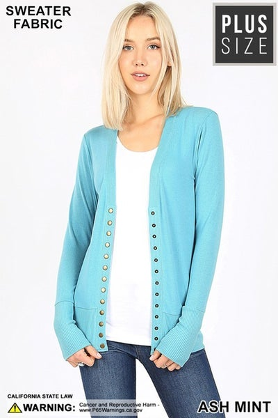Snap Button Sweater Cardigan with Ribbed Detail in Ash Mint