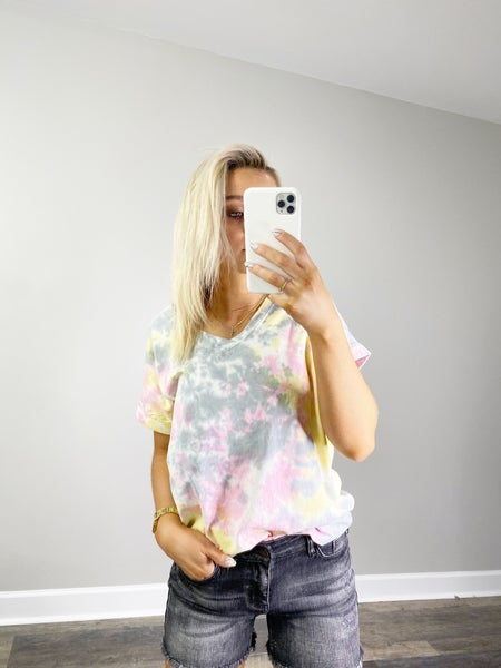 DOORBUSTER Pink and Gray Tie Dye Short Sleeve Top