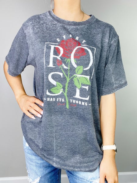 Every Rose Gray Graphic Tee