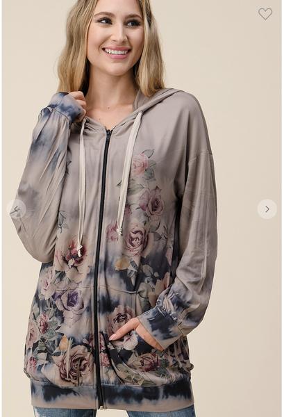 MED & 3X ONLY-Flower Sublimation Print in Mocha Jacket