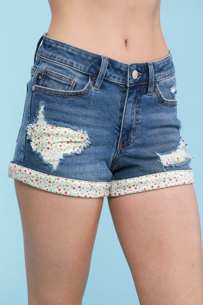 Judy Blue Floral Patch and Hem Shorts