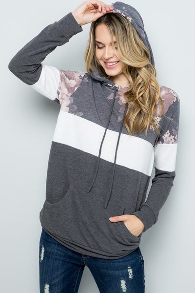 French Terry Colorblocked Hoodie