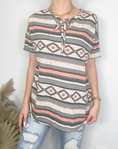 Charcoal and Peach Aztec Top