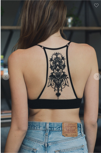 Tattoo Mesh Racerback Bralette ***Multiple Colors