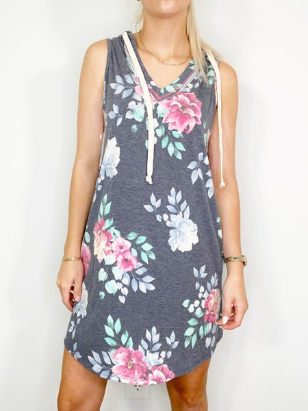Blue/Grey Floral Dress with Hoodie & Pockets