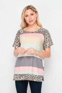 SMALL ONLY Striped Top with Leopard Detailing