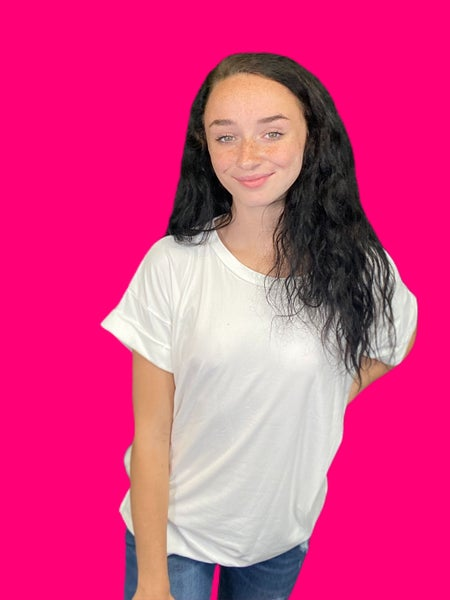 Soft Tee with Cuffed Sleeve ***Multiple Colors