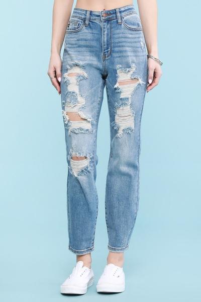 Judy Blue Light Wash Destroyed Boyfriend Jeans