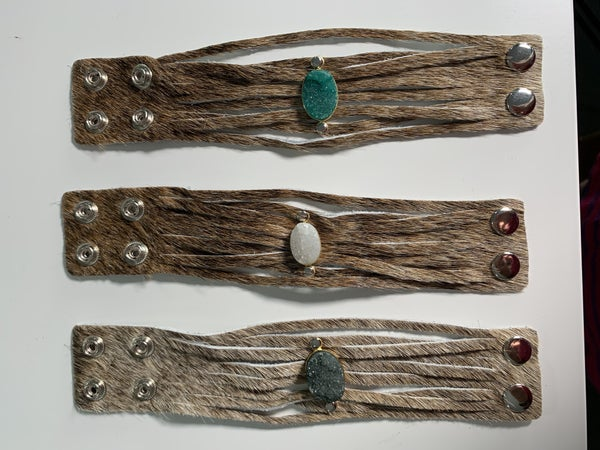 GREEN DRUZY ONLY - Custom Made Genuine Leather Cuff Brown Druzy Bracelet